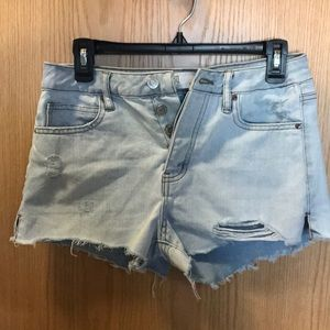 High Waisted light blue distressed denim shorts